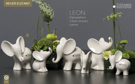 Tiziano Dekoelefant Leon mini stehend 12-13 cm creme