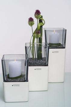 Tiziano Windlicht Alone mit Rauchglas 33,5 cm creme