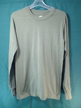 売切れ 米軍放出品 無地 長袖Tシャツ ODカラー S