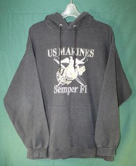 売切れ Hanes USMC ブラックカラー パーカー L