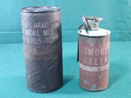 売切れ M18スモークグレネード グリーン 使用済み ピン・レバー・ケース付き