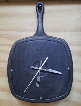 フライパン 壁掛け時計 直径約25cm 角型 中古