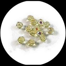 Perles verre facettes 6 mm jaune irisé - lot perles à facettes création de bijoux. Réf : 1412.