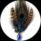 Broche épingle plumes de paon et faisane, strass