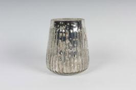 Windlicht Milchig Silber