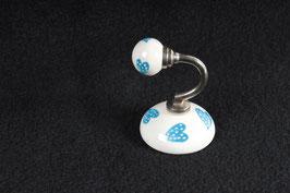 Wandhaken Keramik türkisblaue Herzen