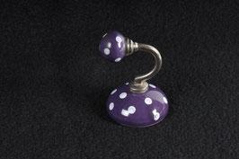 Wandhaken Keramik violett mit punkten