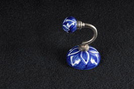Wandhaken Keramik blaue Blume