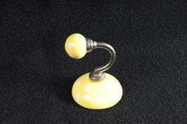 Wandhaken Keramik gelb mit Punkten