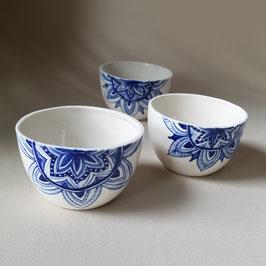 Kommetjes porselein- handbeschilderd - Blauw