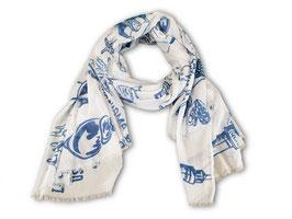★ Sylt-Tuch Janina, aus 100% Baumwolle in weiß mit Sylter Motiven in einfarbigem Druck