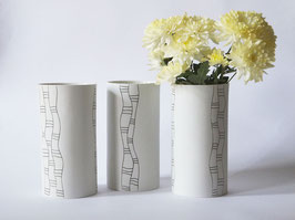 Unikat-Vase mit vertikalen Bändern