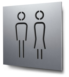 WC Damen + Herren konturgeschnitten in Aluminium, Art. PT001CC0010