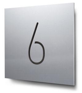 """Hausnummer """"6"""" konturgeschnitten in Aluminium, Art. HN185CC0010-6"""