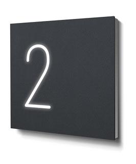 """Hausnummern """"2…"""" - RAL7016 anthrazit - beleuchtet"""