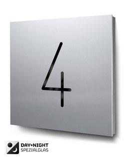 "Hausnummer ""4"" beleuchtet in Aluminium, Art. HN185L0010-4"
