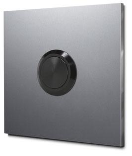 Türklingel in 75 x 75 mm Aluminium mit unbeleuchtetem Taster