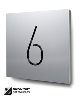 "Hausnummer ""6"" beleuchtet in Aluminium, Art. HN185L0010-6"