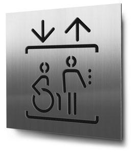 Aufzug konturgeschnitten in Edelstahl, Art. PT013CC0030