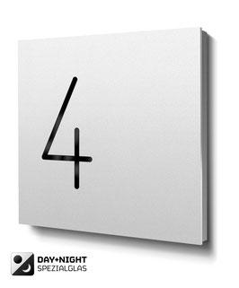 """Hausnummern """"4…"""" - RAL9010 reinweiss - beleuchtet"""