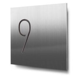 """Hausnummern """"9…"""" konturgeschnitten in Edelstahl"""