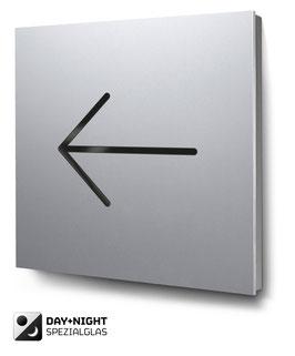 Pfeil nach links beleuchtet in Aluminium, Art. PT017L0010