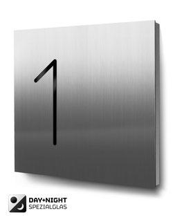 """Hausnummern """"1…"""" - Edelstahl - beleuchtet"""