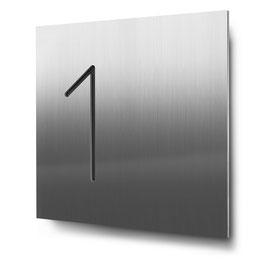 """Hausnummern """"1…"""" konturgeschnitten in Edelstahl"""