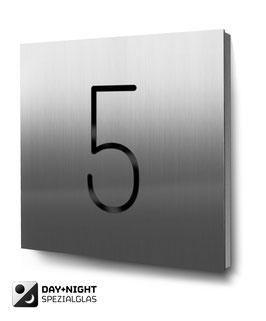 """Hausnummer """"5"""" beleuchtet in Edelstahl, Art. HN185L0030-5"""
