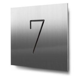 "Hausnummer ""7"" konturgeschnitten in Edelstahl, Art. HN185CC0030-7"