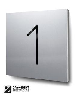 "Hausnummer ""1"" beleuchtet in Aluminium, Art. HN185L0010-1"