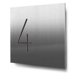 """Hausnummern """"4…"""" konturgeschnitten in Edelstahl"""