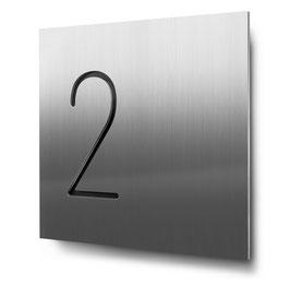 """Hausnummern """"2…"""" konturgeschnitten in Edelstahl"""