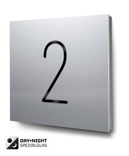 "Hausnummer ""2"" beleuchtet in Aluminium, Art. HN185L0010-2"