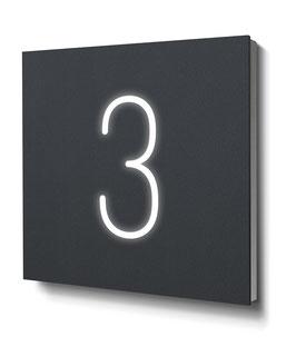 "Hausnummer ""3"" RAL7016 anthrazit beleuchtet"