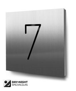 """Hausnummer """"7"""" beleuchtet in Edelstahl, Art. HN185L0030-7"""
