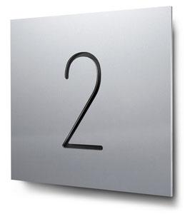 """Hausnummer """"2"""" konturgeschnitten in Aluminium, Art. HN185CC0010-2"""