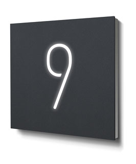 "Hausnummer ""9"" RAL7016 anthrazit beleuchtet"