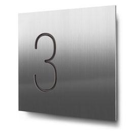 """Hausnummern """"3…"""" konturgeschnitten in Edelstahl"""