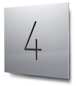 """Hausnummer """"4"""" konturgeschnitten in Aluminium, Art. HN185CC0010-4"""