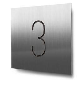"Hausnummer ""3"" konturgeschnitten in Edelstahl, Art. HN185CC0030-3"
