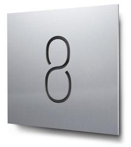 """Hausnummer """"8"""" konturgeschnitten in Aluminium, Art. HN185CC0010-8"""