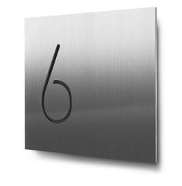 """Hausnummern """"6…"""" konturgeschnitten in Edelstahl"""