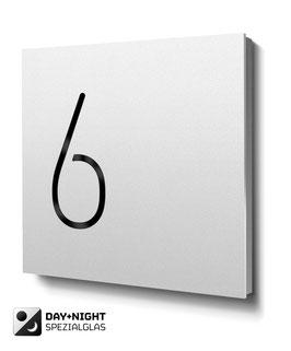 """Hausnummern """"6…"""" - RAL9010 reinweiss - beleuchtet"""