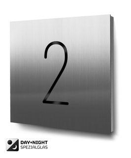 """Hausnummer """"2"""" beleuchtet in Edelstahl, Art. HN185L0030-2"""
