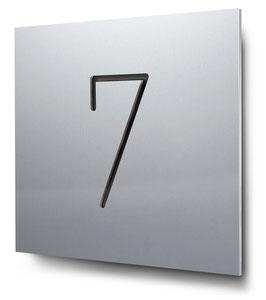 """Hausnummer """"7"""" konturgeschnitten in Aluminium, Art. HN185CC0010-7"""