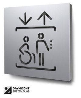 Aufzug beleuchtet in Aluminium, Art. PT013L0010