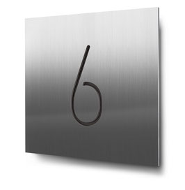 "Hausnummer ""6"" konturgeschnitten in Edelstahl, Art. HN185CC0030-6"