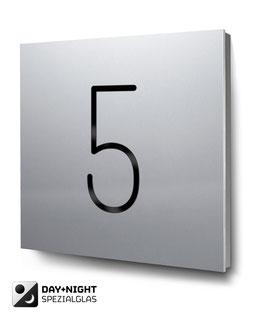 "Hausnummer ""5"" beleuchtet in Aluminium, Art. HN185L0010-5"