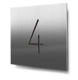 "Hausnummer ""4"" konturgeschnitten in Edelstahl, Art. HN185CC0030-4"